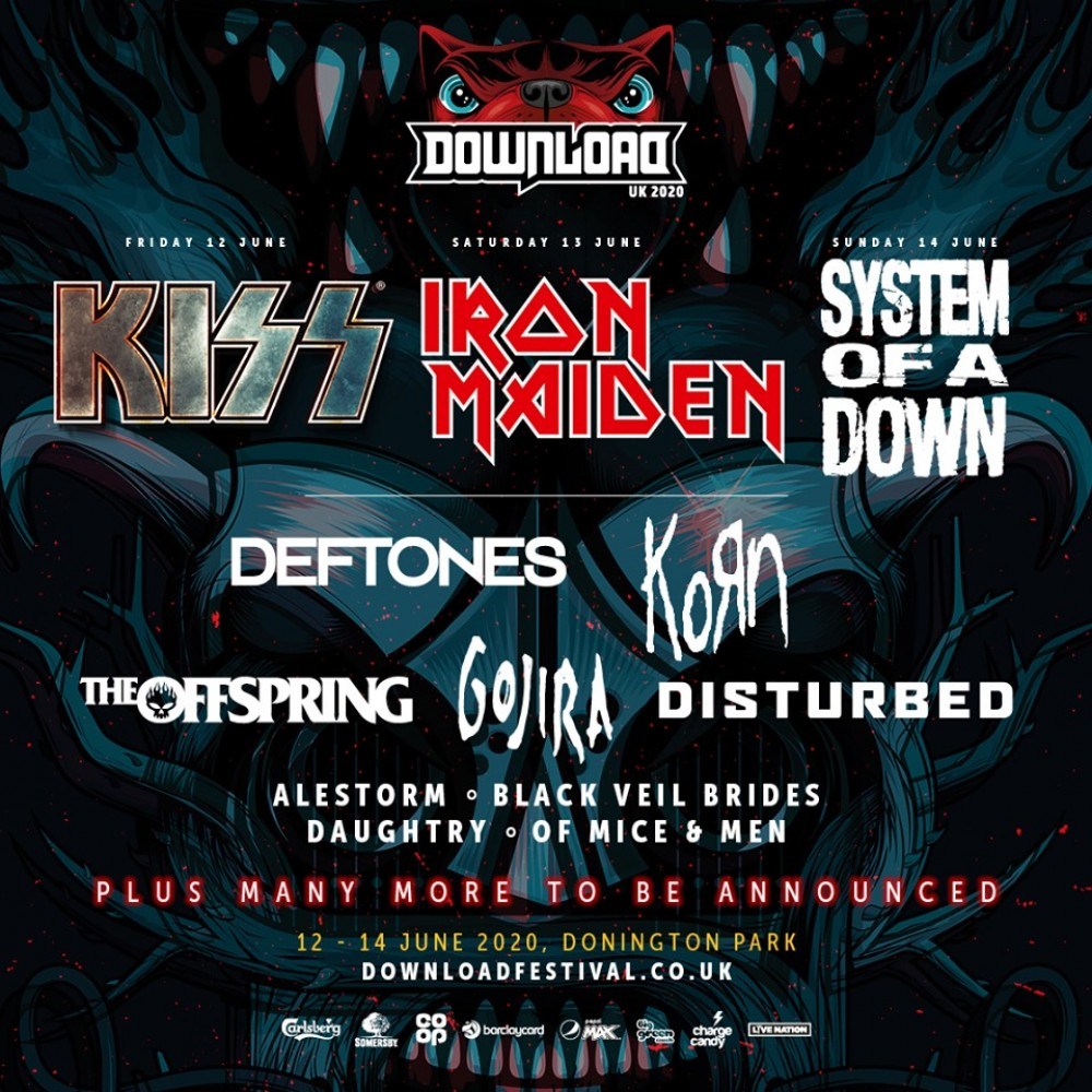 KISS, IRON MAIDEN, SYSTEM OF A DOWN ANNOUNCED AS 2020 DOWNLOAD HEADLINERS
