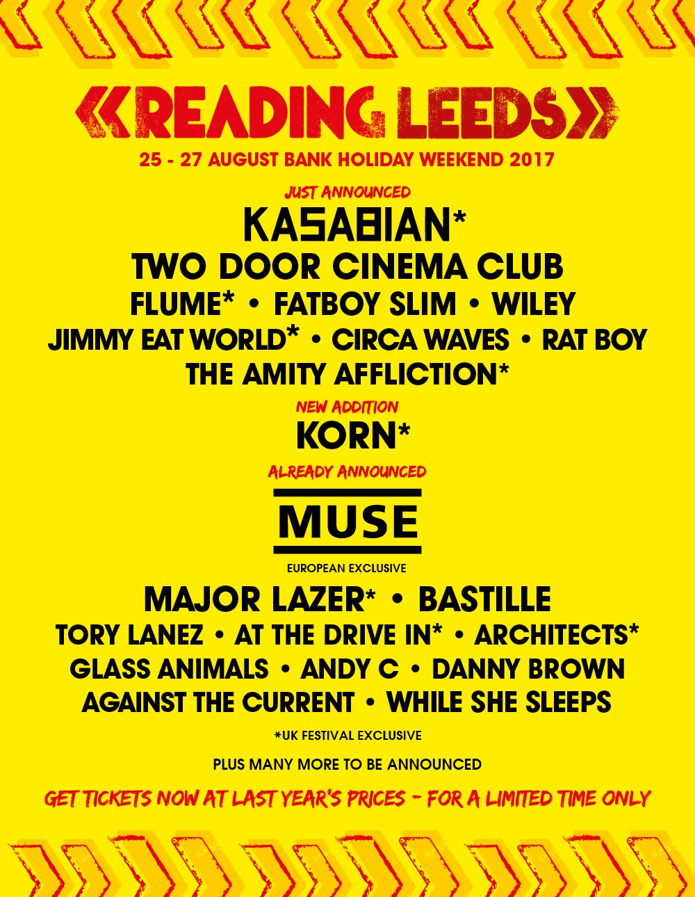 KORN AND SECOND HEADLINER FOR READING & LEEDS 2017
